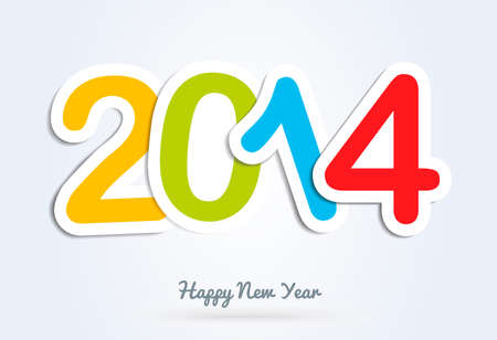 Diversity colors Happy new year 2014 holidays contemporary greeting card background. Vector