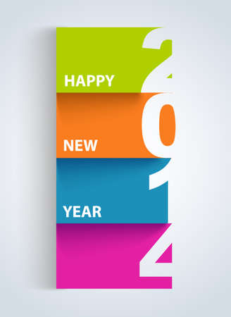Multicolor New year 2014 paper cut postcard background.  Vector