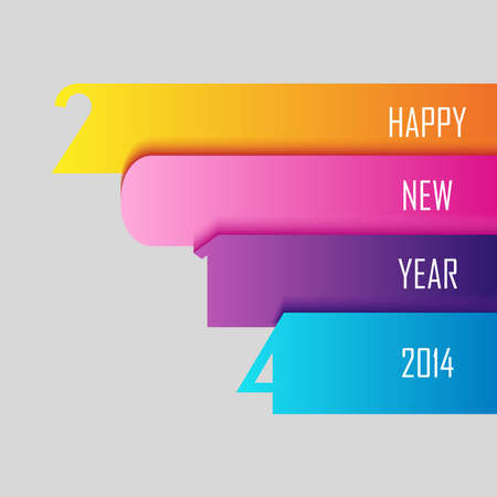 Happy new year 2014 holidays contemporary greeting card design background.  Vector