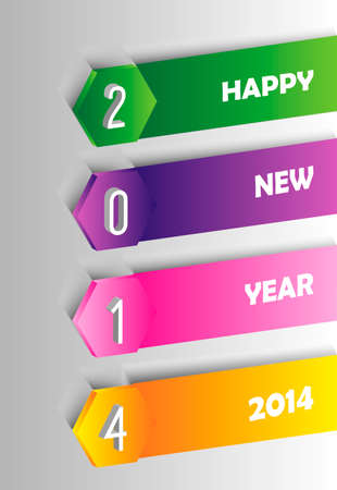 greeting card background: Happy new year 2014 holidays contemporary label greeting card background.  Illustration
