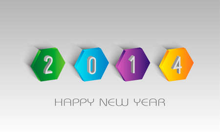 Happy new year 2014 holidays contemporary 3D greeting card illustration.  Vector