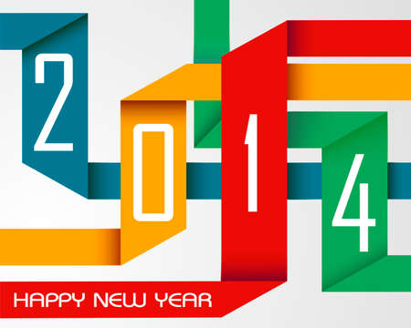 Happy new year 2014 holidays colorful origami greeting card background. Vector