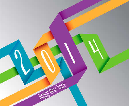 Happy new year 2014 3D colors ribbon postcard background. Vector