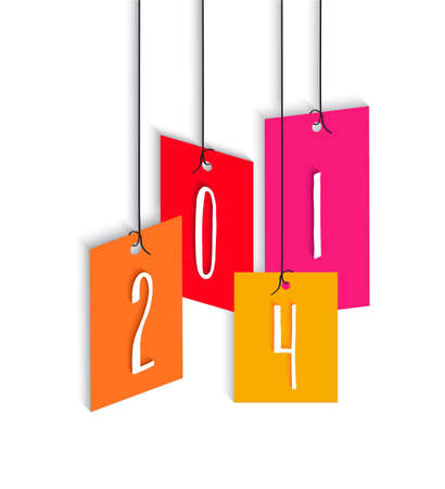 hangtag: Happy new year 2014 holidays hangtag colors greeting card design background.