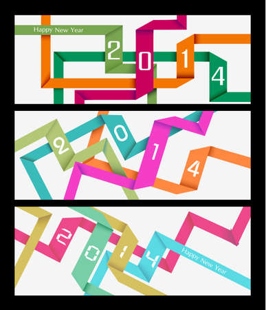 Happy new year 2014 holidays abstract colors ribbons web banner.  Vector