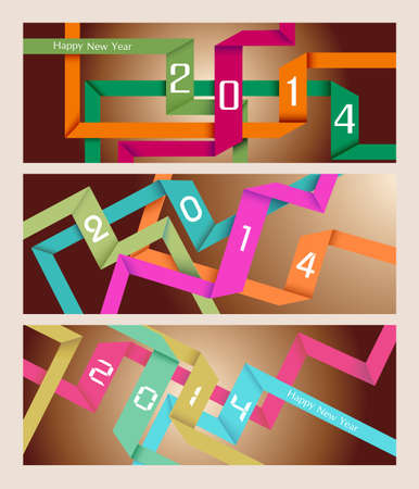 Happy new year 2014 holidays colorful ribbons banner background. Vector