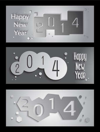 happy new year banner: Happy new year 2014 holidays 3D banner design background.