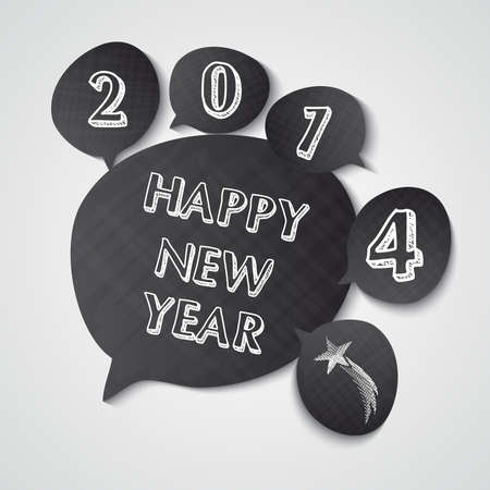 Happy new year 2014 hand drawn chalcoal speech bubbles greeting card design. Vector