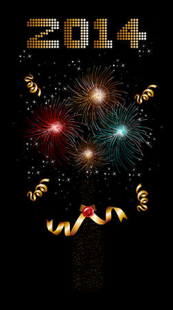 Happy new year 2014 holidays champagne bottle with fireworks sparkles greeting card background.  Vector