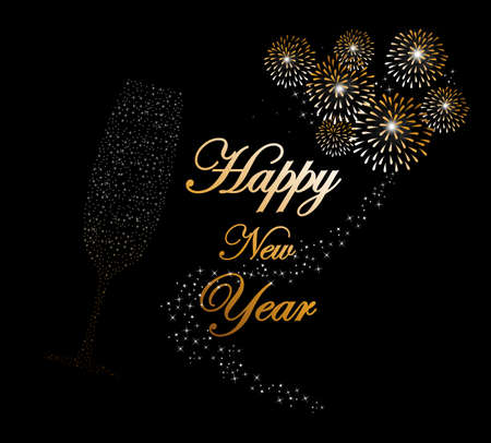 Happy new year 2014 holidays champagne flute glass with fireworks sparkles greeting card background.  Vector