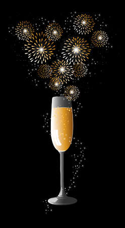 Happy new year 2014 holidays champagne flute with fireworks sparkles greeting card background.  Vector