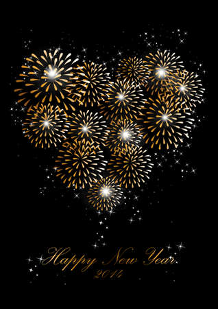 Happy new year 2014 holidays heart love fireworks greeting card background. Vector