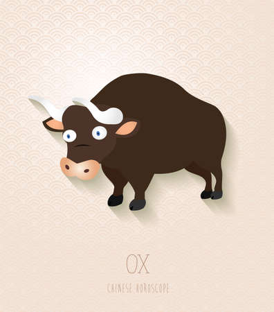 ox: 2021 Chinese New Year of the Ox funny cartoon zodiac collection illustration.  Illustration