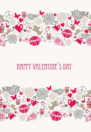 ビンテージ バレンタインの s 日の要素、フラット アイコン愛シームレスなパターンは、簡単に編集用レイヤーに整理ファイル  イラスト・ベクター素材