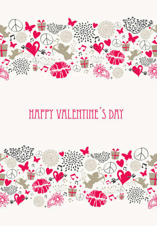 Vintage Valentine s day elements, flat icons love seamless pattern, file organized in layers for easy editing