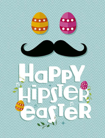 greeting card background: Happy hipster easter egg and mustache greeting card background.