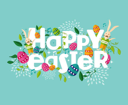 Colorful Happy Easter greeting card with flowers eggs and rabbit elements composition.  Illustration