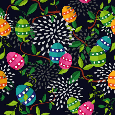Cute colorful Easter seamless pattern with flowers and colors eggs on black background.  Vector
