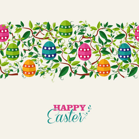 Colorful Easter seamless pattern banner with leaves and colors eggs.  Vector