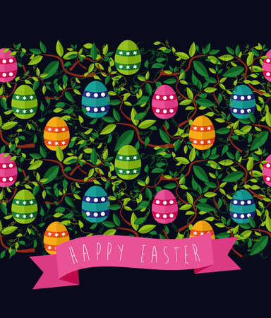 Cute colorful Easter seamless pattern with leaves and colors eggs on black background.  Vector