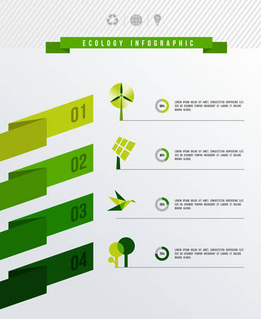 energy conservation: Green environment infographic design layout.