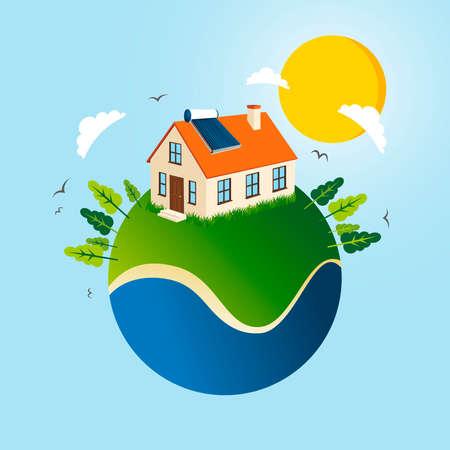 Globe Earth with a green energy solar panel house.  Vector