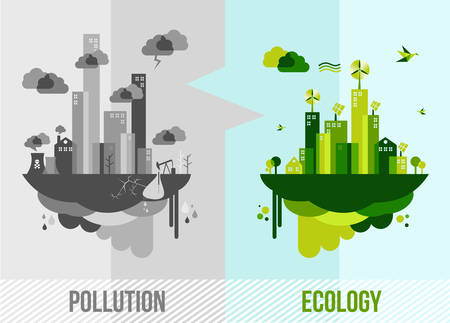 Go green environment illustration. Ecology and pollution city concept.