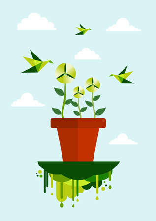 wind turbine: Environnement vert pot de fleur et �olienne concept illustration.