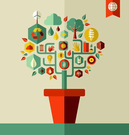 Environment tree pot concept illustration with flat icon set.  Vector