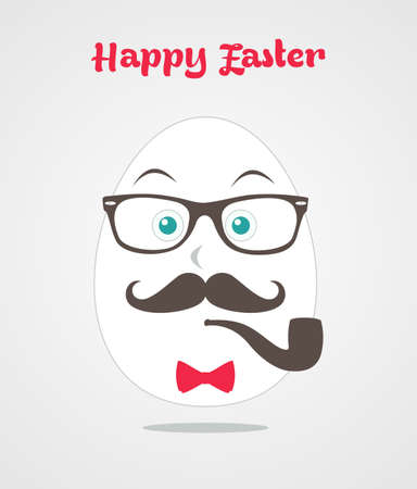 mr: Happy hipster easter Mr retro egg greeting card background.