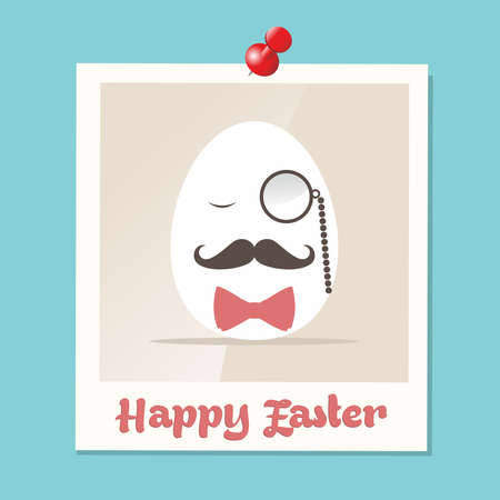 mr: Happy hipster easter greeting card with retro Mr. egg in instant photo illustration.