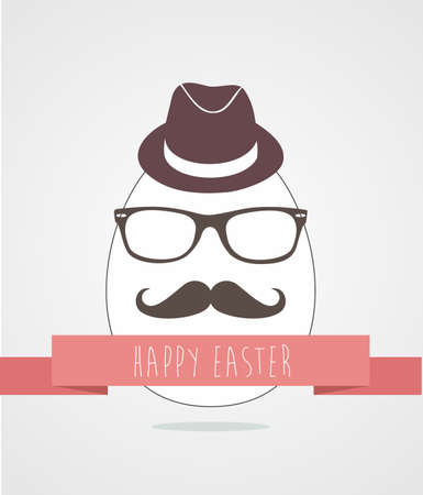 greeting card background: Happy hipster egg greeting card background.
