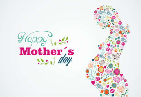 Happy Mothers day typographic background and silhouette of pregnant woman.  Illustration