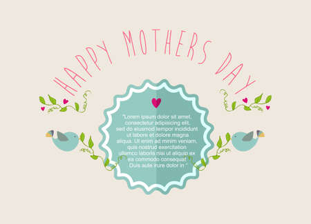 Vintage cute Happy Mothers day, place your text retro label. Vector
