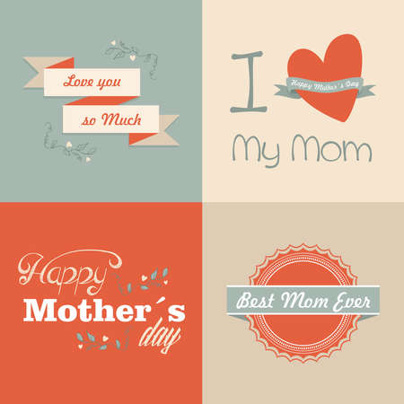 retro type: Happy mothers day set cards vintage retro type font.