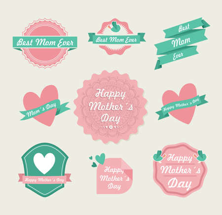 Set of cute design elements badges and labels in vintage style for Mothers day.  Vector