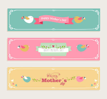Retro cut Happy Mothers day banners set.  Vector