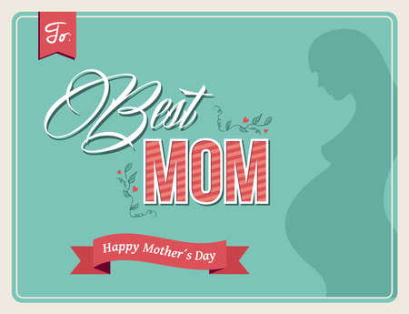 mothers day background: Tendenza retr� Happy Mothers day background. Miglior testo mamma con una donna incinta.