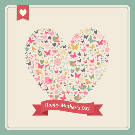 Vintage Happy Mothers Day greeting card celebration background with heart love elements composition and place for your text.  Vector