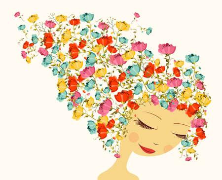 haircare: Beautiful woman portrait, flowers season hair composition.  Illustration