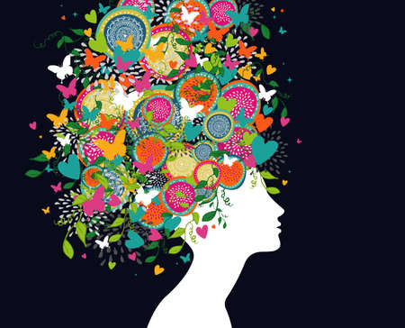 Abstract woman profile with with flowers, butterflies and hearts in hair.
