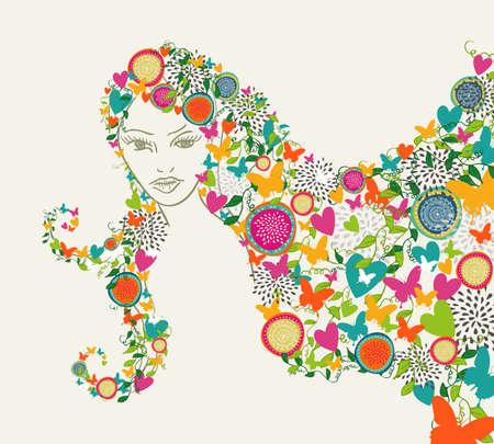 donna farfalla: Bella donna, fiori e farfalle stagione composizione dei capelli. Vettoriali