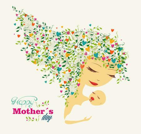 かわいい幸せな母の日の女性と赤ちゃんバック グラウンド。  イラスト・ベクター素材