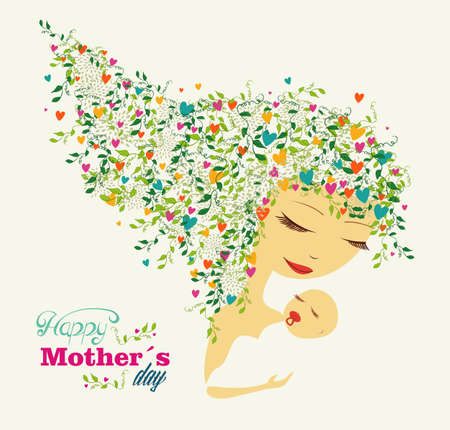Cute Happy Mothers day woman and baby background.