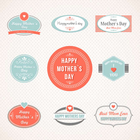 mother day: Happy Mothers Day retro vintage labels and icons set. Vector illustration layered for easy manipulation and custom coloring.