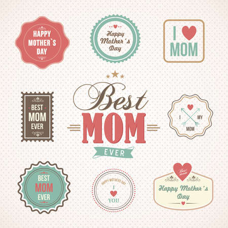 mother day: Happy Mothers day retro vintage label set. Vector illustration layered for easy manipulation and custom coloring.