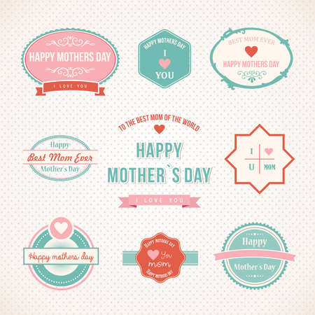 Happy mothers day label set design vintage retro type font.  Vector illustration layered for easy manipulation and custom coloring. Vector