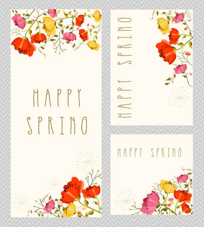 thank you cards: Spring invitation, thank you card, save the date cards, with colorful flowers composition. EPS10 vector file organized in layers for easy editing.