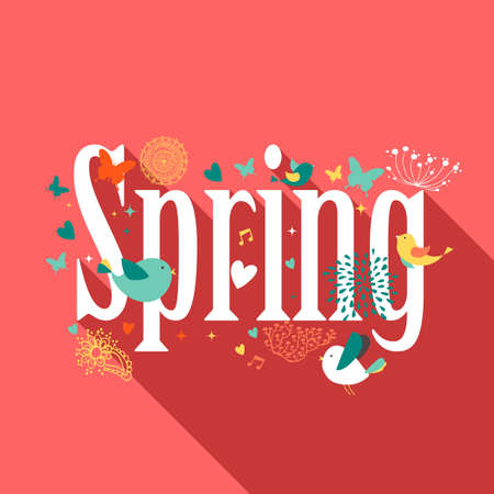Colorful Spring text flat design illustration. Vector