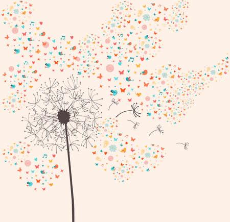Springtime dandelion greeting card composition. Vector